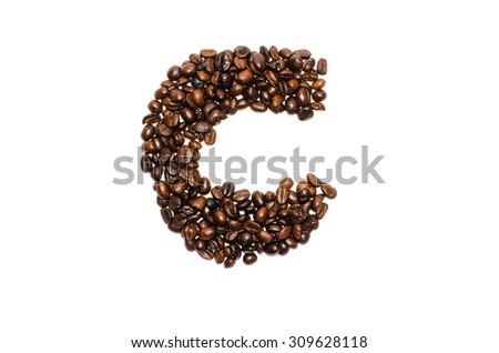 coffee alphabet, letter C. Isolated on a white background - stock photo