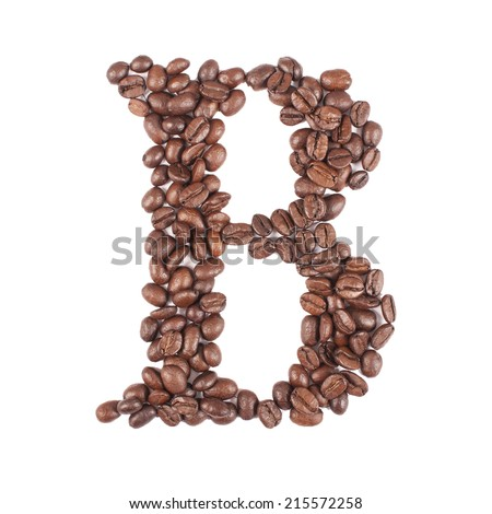 Coffee alphabet letter isolated on white - stock photo