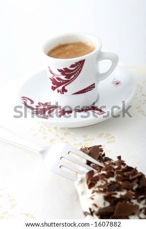 Coffee and a chocolate cake