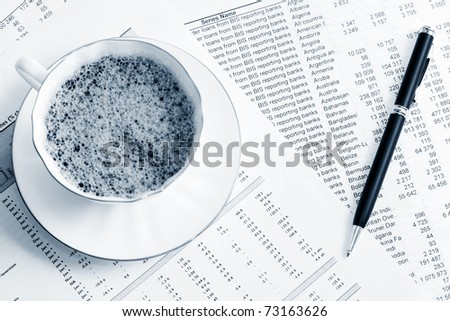 Coffee and accounting - stock photo