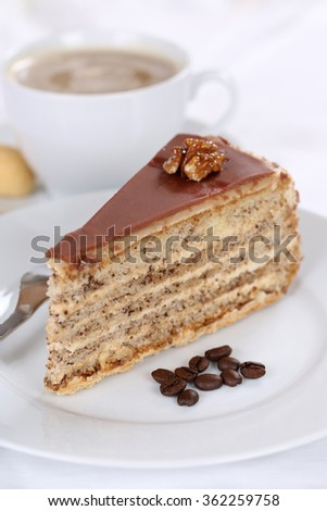 Coffee and cake tart nut dessert sweet food pastry