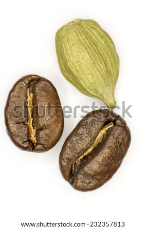 Coffee and cardamom on a white background