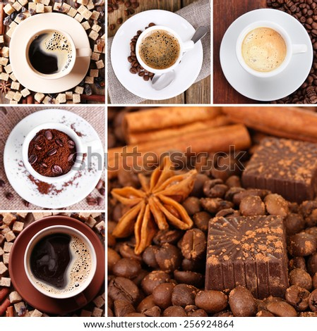 Coffee and chocolate in collage - stock photo