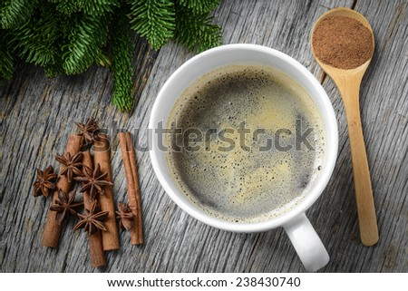 Coffee and Cinnamon and Anise Star for the Holidays with Christmas Pine Branch - stock photo