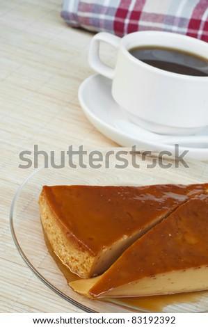 coffee and creme caramel - stock photo