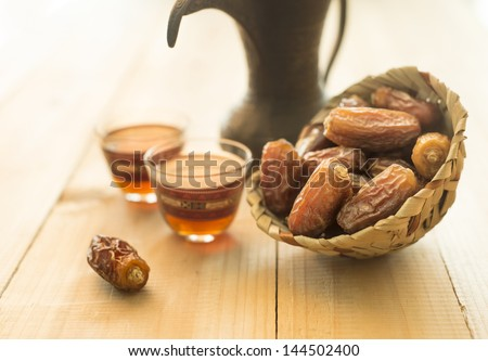 Coffee and dates still life - stock photo