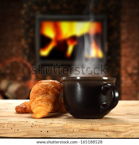 coffee and fireplace