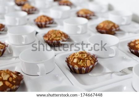 Coffee and Homemade cookies with chocolate - stock photo