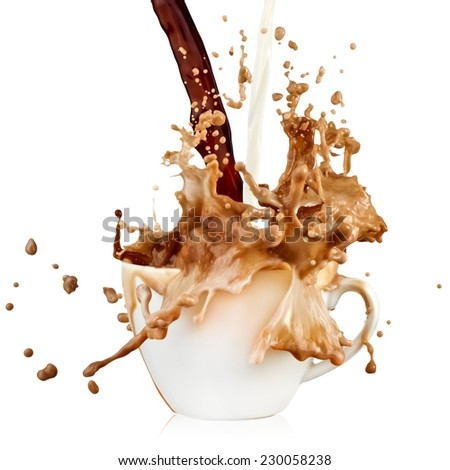 Coffee and milk pour and spill - stock photo