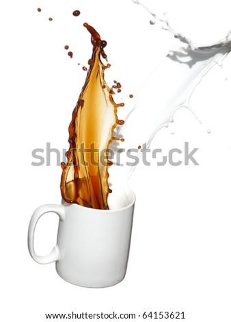 Coffee and milk splash - stock photo