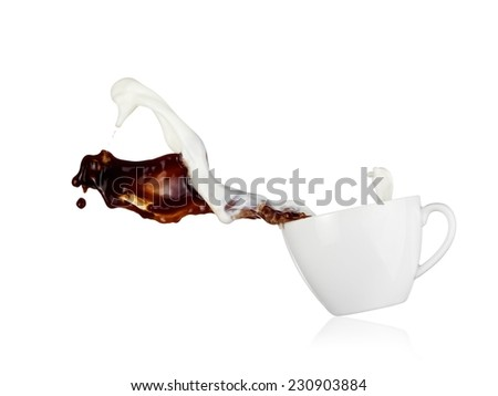 Coffee and milk up together from a cup - stock photo