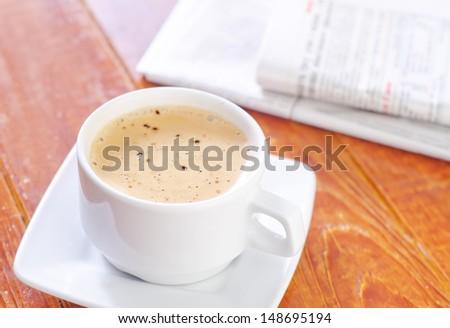 coffee and newspaper - stock photo
