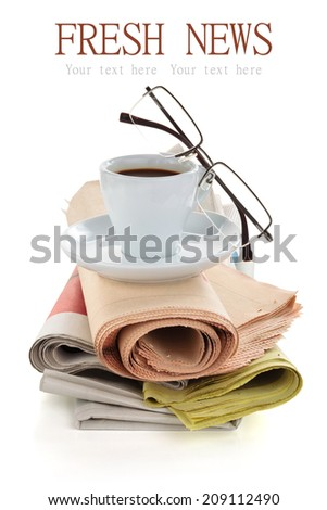 Coffee and newspapers isolated on white. - stock photo