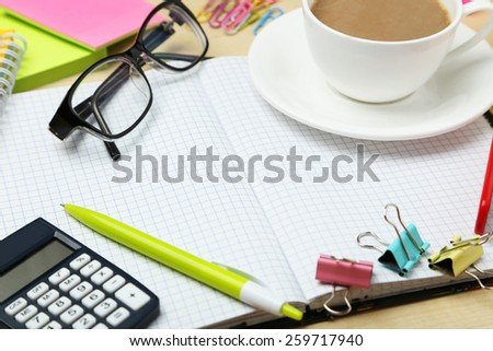 Coffee and office supplies - stock photo