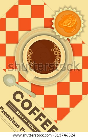 Coffee and Orange Cupcake in Retro Design - Advertising, Menu Cover.  - stock photo