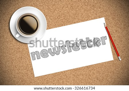 coffee and pencil sketch newsletter on paper. - stock photo