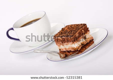 coffee and sweet cake - stock photo