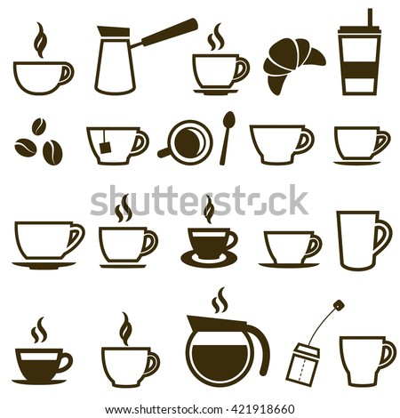 Coffee and Tea cup icon set. Raster version - stock photo