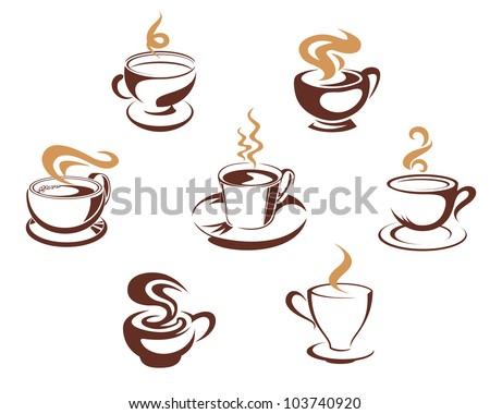 Coffee and tea cups for morning breakfast concept design, such logo. Vector version also available in gallery - stock photo