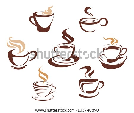 Coffee and tea cups symbols for fast food design, such logo. Vector version also available in gallery - stock photo