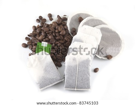 Coffee and tea on a white background