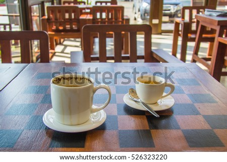coffee and tea on the table