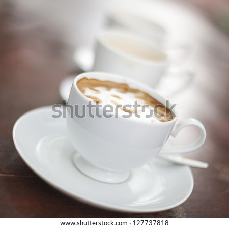 Coffee at Cafe with selective focus. - stock photo
