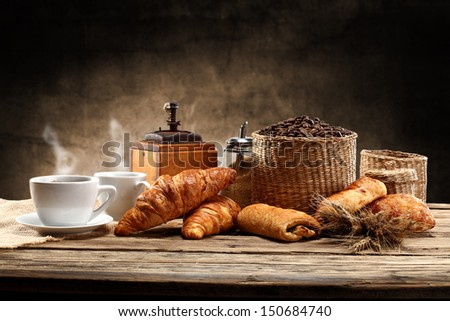 coffee background and two hot cups  - stock photo