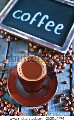 coffee background, coffee on the wooden table