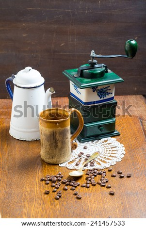 coffee background with coffee beans on wooden table