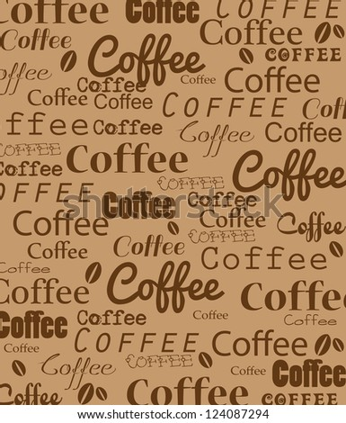 Coffee background with inscriptions