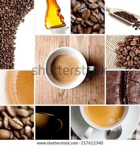 coffee bean cup set collage with splash - stock photo