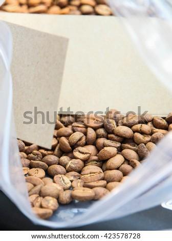 coffee bean in bag - stock photo