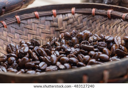 Coffee bean in basket