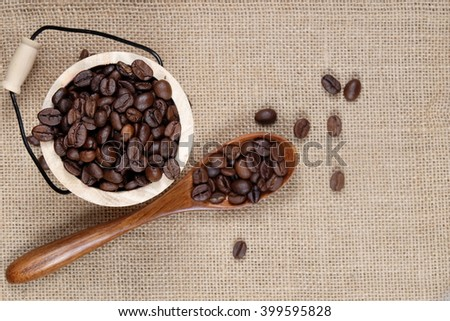 Coffee bean in bucket