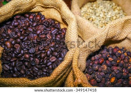 Coffee bean in sack - stock photo