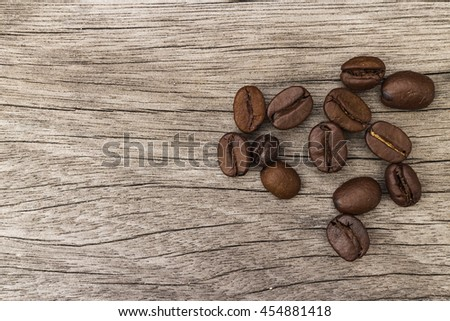 coffee bean  on the wooden background