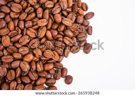 coffee bean on white paper background - stock photo