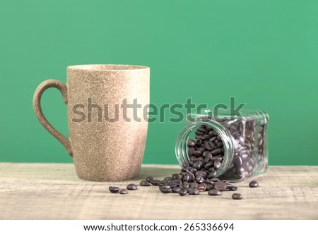 Coffee bean with view of the coffee cup - stock photo