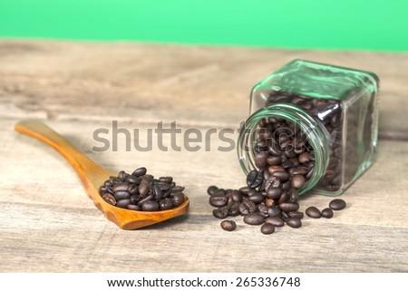 Coffee bean with view of the coffee jar  jar - stock photo