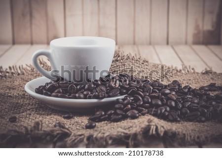 Coffee Bean with vintage tone. - stock photo
