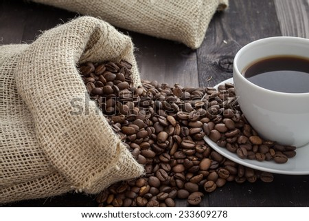 coffee beans and a silver shovel lying in a sack