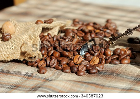 Coffee beans and a spoon