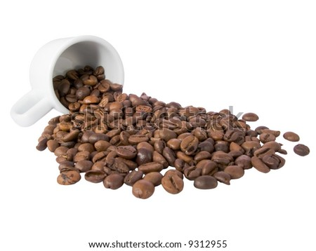 coffee beans and an espresso cup