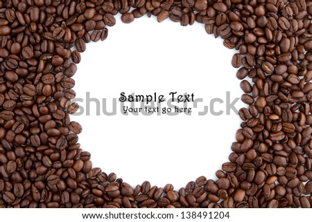 Coffee beans and circular space for own text