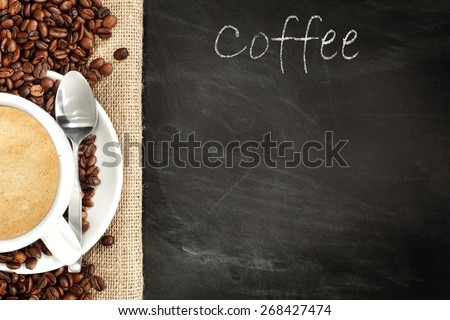coffee beans and coffee blackboard  - stock photo