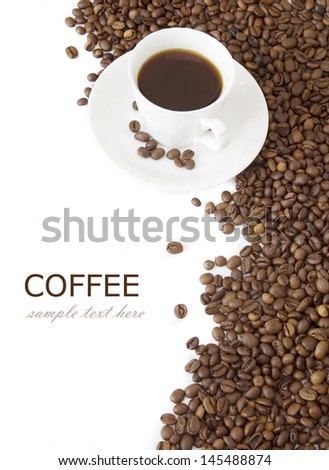 Coffee beans and coffee cup isolated on white background text sample text