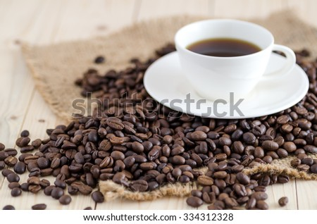coffee beans and cup of coffee-background