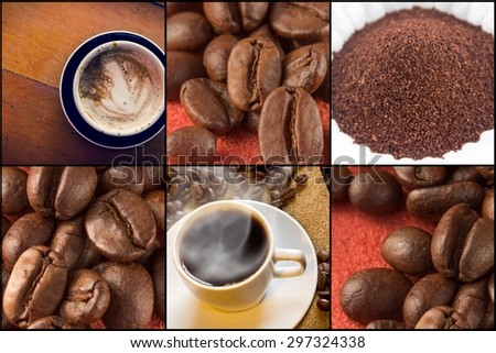 Coffee beans and latte in morning beverage collage