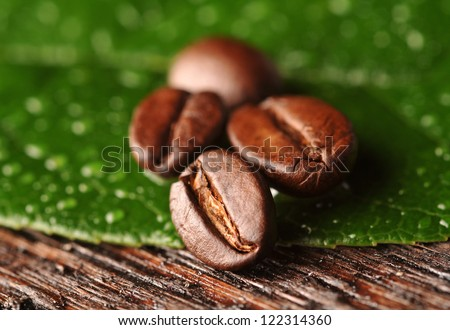 Coffee beans and leaves on the wooden background - stock photo